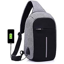 XINANTIME - Mochilas de ordenador Mochila de viaje de senderismo casual con puerto de carga USB se adapta a portátil y tabletas de 14 /15 pulgadas (Gris, 18 * 10 * 31cm)