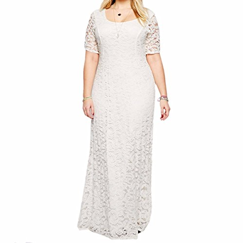 Weiße Plus Hochzeits-kleider Größe (Shanxing Damen Kleider Spitzenkleid Party Kleid Hochzeit Cocktailkleid Abendkleid Maxikleid Plus Größe)