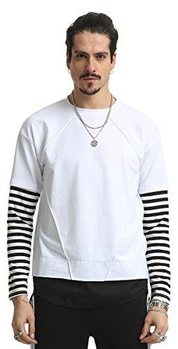 Pizoff Unisex Hip Hop Fake Two-Pieces Design Kapuzenpullover mit halbem Reißverschluss und Druckmuster AH027-White