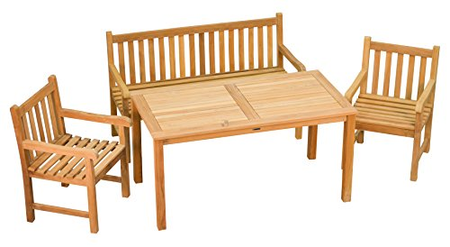 Sitzgruppe 3 Tlg. aus massivem Teakholz  2x Sessel + 1x Bank + 1x Tisch  Wetterfest  Nachhaltiges Plantagenholz  Klassisch geformte Balkon-Gruppe, Sitzgruppe aus Holz