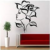Stickers muraux de plantes de fleurs en vinyle pour la décoration murale de la maison des femmes visage amovible 57x74 cm