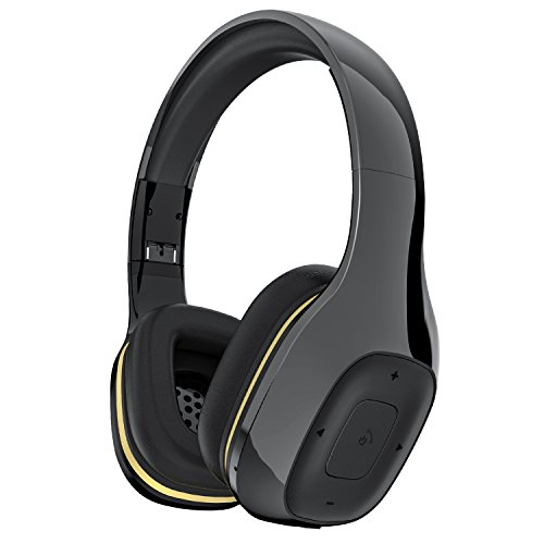 Bluetooth Headset über Ohr, MEAMOR Hi-Fi Stereo Wireless Headset Kopfhörer mit Mikrofon, faltbar, YM550 Soft Memory-Protein Ohrenschützer, verkabelt Modus für PC / Handys / TV (Black)