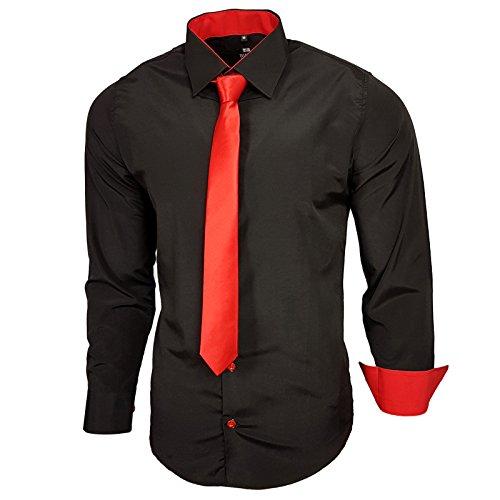 Rusty Neal Schwarz Herren Hemd mit Krawatte Kontrast Langarm Polo Shirt Party Slim Fit R-44 Schwarz / Rot
