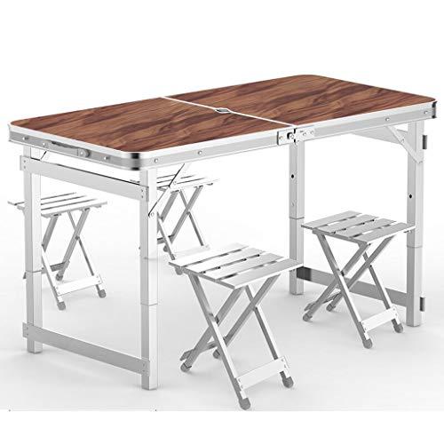 Multifunktionstisch Leqi Klapptisch Outdoor Tragbarer Tisch Und Stuhl Kombination Set Einfache Aluminium Klappstuhl Hocker Wild Barbecue Stall Tisch Nussbaum Mit Regenschirm Loch Mit 4 Aluminium Hocke -