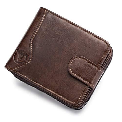 BND-Brieftaschen Herrenportemonnaie aus Leder Multi-Card Seat Organ Reißverschluss Führerschein Brieftasche,Gute Qualität (Color : Brown, Size : S-B)