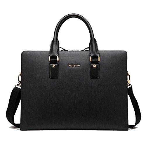 YAAGLE Erstklassig Herren Handtasche Business Taschen Aktentasche Schultertasche echtes Leder Laptoptasche-blue black