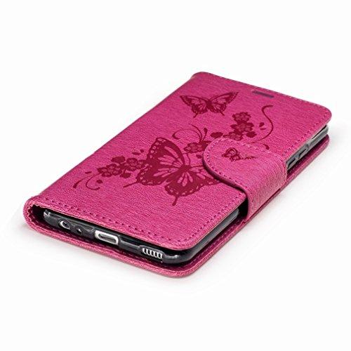 Yiizy Huawei P10 Custodia Cover, Fiore Di Farfalla Design Sottile Flip Portafoglio PU Pelle Cuoio Copertura Shell Case Slot Schede Cavalletto Stile Libro Bumper Protettivo Borsa (Blu Profondo) Red Rose