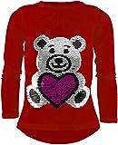Unbekannt Teddybär Mädchen Langarm Wendepailletten T-Shirt Bluse Long Shirt Pullover Pulli (110-116, Rot)