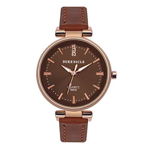Frauen Quarz Analog Uhr, Anmut Damenuhr Wasserfeste Armbanduhr mit Weichem Lederband Frauen und Mädchen Geschenk Braun -