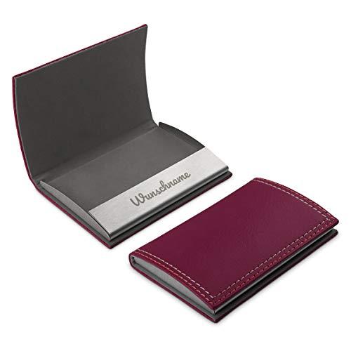 Visitenkartenetui aus dickem und hochwertigen PU-Leder mit individueller Gravur, Magnetverschluss und Gummi Innenfutter 10x7 cm Pink - Schriftzug Name
