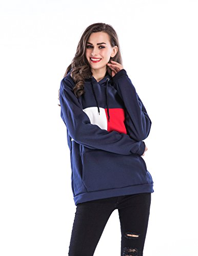 Sitengle Damen Kapuzenpullover einfacher Mischfarben Langarmshirt mit Kapuzen basic Hoodies Sweatshirt Tops Oberteil Dunkelblau