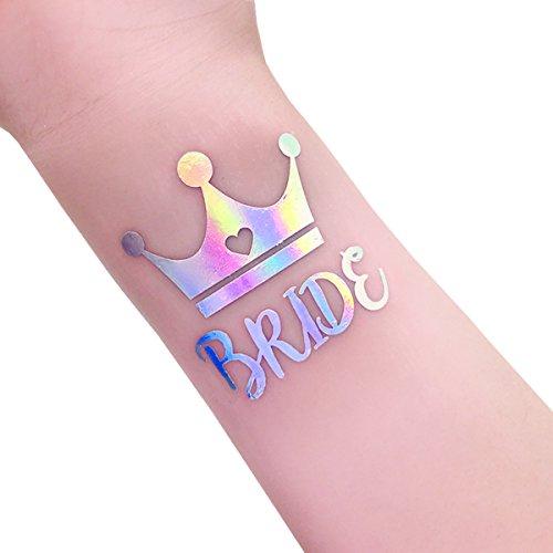 Bachelorette Party und Braut Tribe Rainbow Flash Tattoos, 12-Pack BRAUT und Team BRAUT Temporäre Tattoos, Braut Dusche Favor und Dekorationen Bachelorette Party Supplies Kit (T12RS, T13RS) (Platzen-dusche)