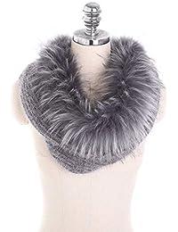 iSpchen Élégant Femme Bonnet Echarpe Hiver Chaud Tricote Chapeau Bobs Epais  Tour de Cou avec Fausse b559818b6eb