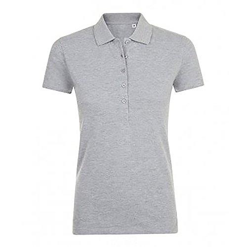 SOLS Damen Phoenix Kurzarm Pique Polo Shirt Grau Meliert