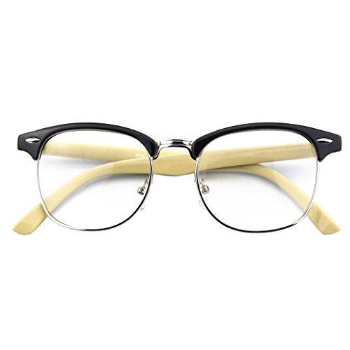 CGID 50er Jahre Retro Nerd Brille Halbrahmen Hornbrille Stil Rockabilly Streberbrille,Schwarz Gelb