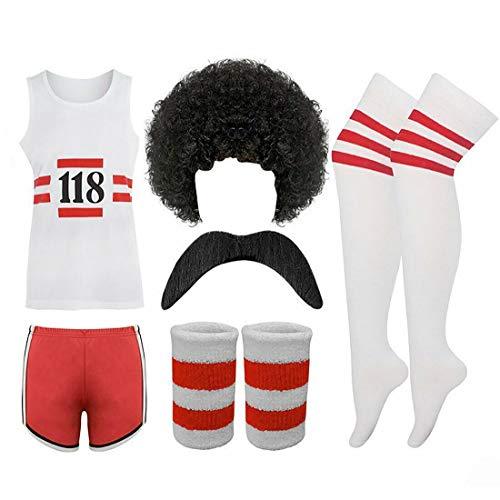 Herren Damen 118 Print Fancy Sport Outfit Unisex Marathon Shorts Weste Perücke Socken (Herren Full Set, Small / Medium)