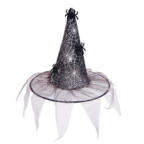Lankater Hexe Hüte Maskerade-Band Zaubererhut Erwachsene Kinder Kostüm Zubehör Halloween Partei-Abendkleid-Dekor-Silber-Spinne (Halloween-dekor Spinnen)