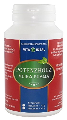 POTENZHOLZ Muira puama 180 Kapseln je 450mg rein natürliches Pulver, ohne Zusatzstoffe