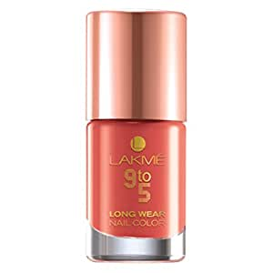 Lakme 9 to 5 Long Wear Nail Color, Peach Promotion 6x9ml