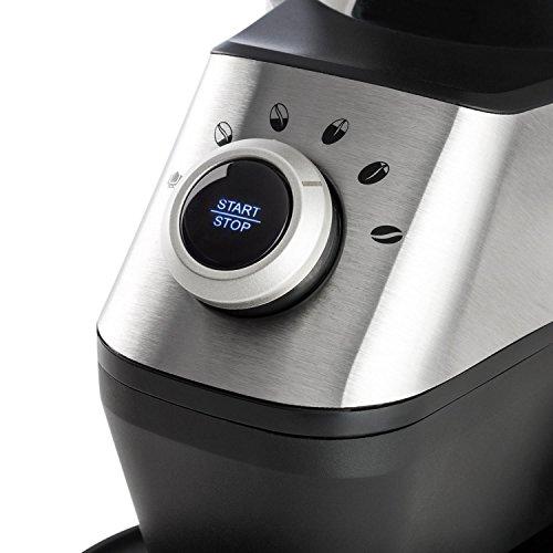 Klarstein Triest /• Molinillo de caf/é /• Molinillo el/éctrico /• Mecanismo c/ónico /• 15 grados de molido /• Recipiente 300g /• Limpieza f/ácil /• 150V de potencia /• Recipiente con autocierre /•