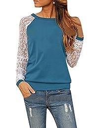 ZANZEA Women's Sexy Casual Spring Lace Splice Long Sleeve Crew Neck Tee Blouse Top T-Shirt