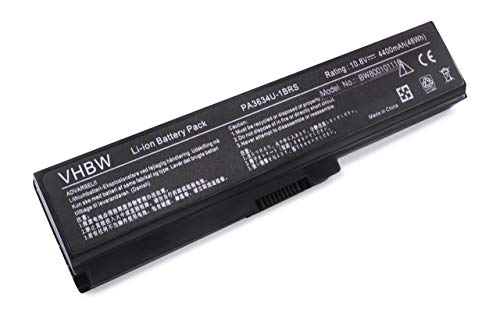vhbw Batterie 4400mAh (10.8V) pour Toshiba Satellite C645D L515 M505 M505D M645 P740D T110D T115 T130 T135 remplaçant PA3780U-1BRS, PA3819U-1BAS.