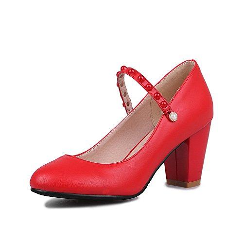 AllhqFashion Damen Rund Zehe Schnalle Pu Rein Hoher Absatz Pumps Schuhe Rot