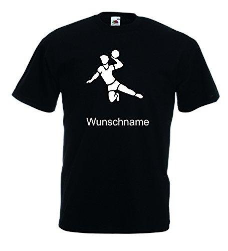 world-of-shirt Unisex Kinder T-Shirt Kids Handball inkl.Wunschnamen|schwarz-164