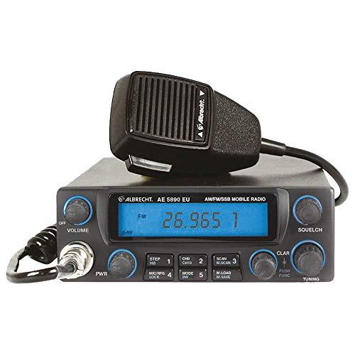 Albrecht AE5890EU CB Funkgerät, mit 6-poligem Mikrofon, 4 Watt AM/FM, 12 Watt SSB