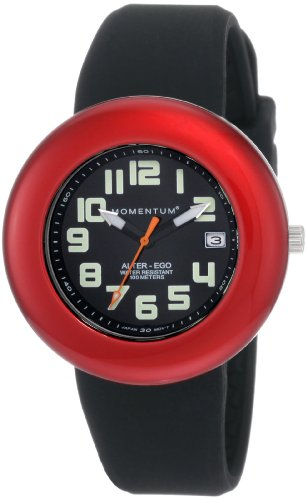 Momentum Ladies 1M-Sp99Bd1B Alter Ego Red Bezel Black Band Watch