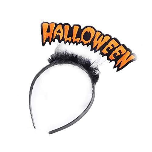 Halloween-Stirnband mit Wort Halloween-Abendkleid Damen Fluffy Glitter Haarband für Halloween-Kostüm-Party-Zubehör HalloweenStyle orange und schwarz
