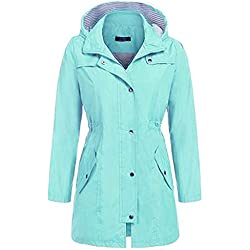 Chubasquero Mujeres Sólido Lluvia Chaqueta Hoodies Outdoor Impermeable con Capucha Impermeable Windproof Sudaderas