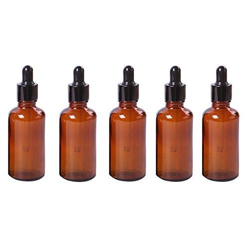 Gemini_Mall® 5 flacons en verre ambré avec pipettes compte-gouttes 5–50 ml
