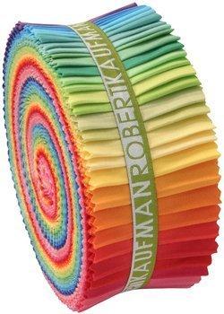 Robert Kaufman Kona Cotton (1 X Robert Kaufman Kona Cotton Solids New Bright Palette Jelly Roll Up, Set of 41 2.5x44-inch (6.4x112cm) Precut Cotton Fabric Strips by Robert Kaufman Fabrics)