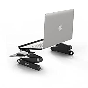 Pwr+ Portable Laptop-Table-Stand with Mouse Pad Fully Adjustable-Ergonomic Mount-Ultrabook-Macbook Light Weight Aluminum-Black Bed Tray Desk Book Fans Up to 17""