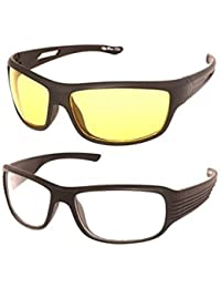 Y&S Night Vision Unisex Driving Sunglasses Combo (Nightvisioncombo|55|Yellow|White)