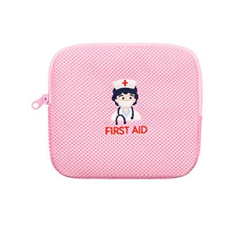 Kleine Krankenschwester Stickerei Erste Hilfe Portable Medizin Tasche, Pink