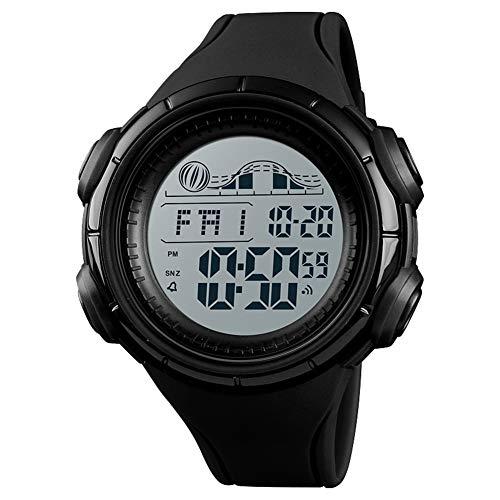 Slri siridescentzb orologio sportivo impermeabile cronografo unisex con sveglia alla rovescia luminoso digitale nero
