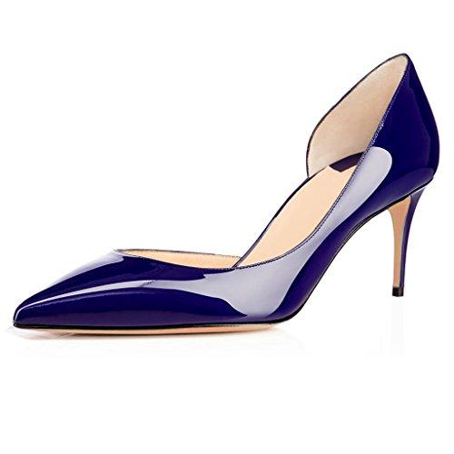ELASHE Spitze Damen Pumps | 6.5CM Cut out Lack Stilettos | Elegante High Heels Blau EU38 Cut Out Stiletto