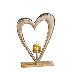 GILDE Kerzenhalter Herz - aus Aluminium mit Holzsockel silber-braun Höhe 52 cm
