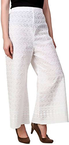 Muskan Boutique Women's Lucknow Ethnic Plazzo PAnt Bottom Of White