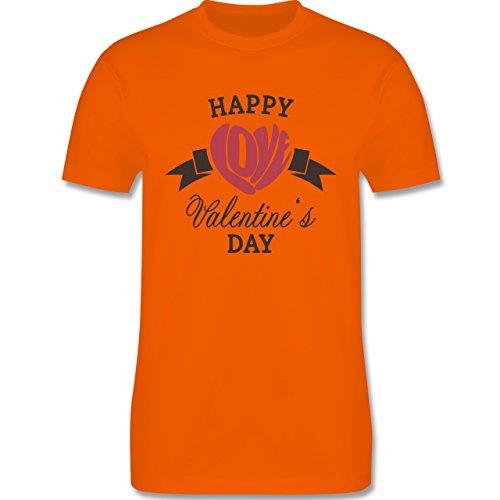Valentinstag - Happy Valentine's Day Herz Love Typographie - Herren Premium T-Shirt Orange