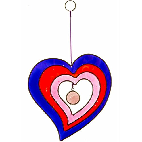 Superbe attrape-soleil fait main en forme de cœur Rose et bleu