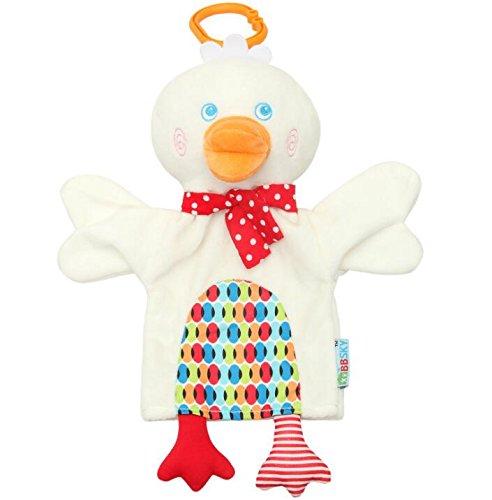 Baby Appease Tröster Spielzeug Handpuppe Baby Tröster Spielzeug Soft Handtuch Plüsch Ente Toy_White -