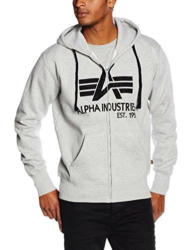 Alpha Big A Classic Zip, Felpa Uomo, Grigio Grey Heather