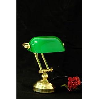 Antike Fundgrube Bankerlampe Bankers Lamp Schreibtischlampe Messing mit grünem Glasschirm (1891)