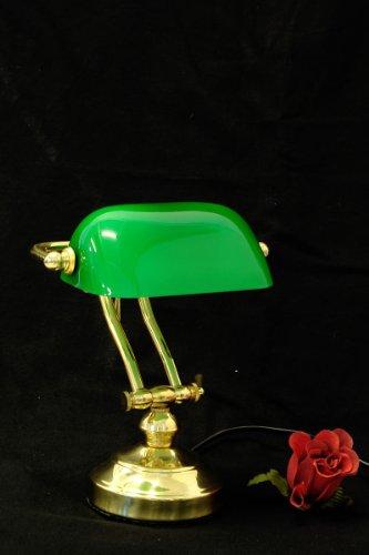 Kleine Bankerlampe aus Messing mit grünem Glasschirm