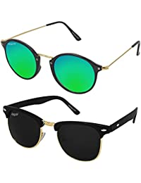 Elegante UV Protected Stylish Combo Of Black Clubmaster And Green Mirrored Round Sunglasses For Men And Women