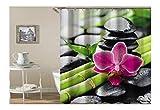 Coniea Badezimmer Vorhänge Bambusorchideenstein Duschvorhang Bunt Badvorhang Antischimmel 180X200Cm