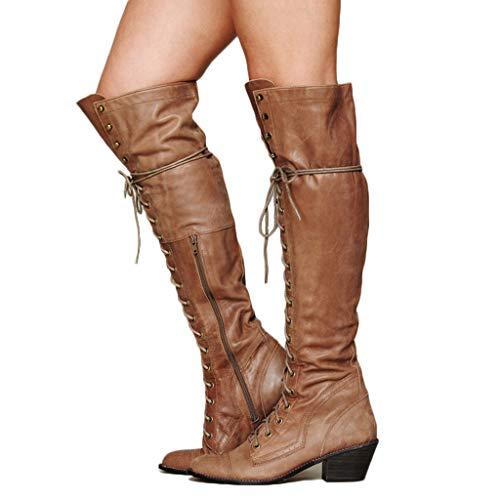 MWyanlan Herbst und Winter Damen Motorradstiefel Vintage Leder Kniehohe Stiefel europäischen und amerikanischen Stil Knight Boots Lace-Up-Seiten-Reißverschluss Womens Fashion-Schuh,Braun,35 -